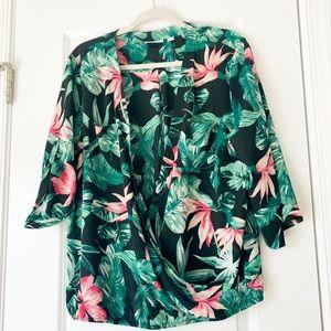 NY&CO Tropical Print Wrap 3/4 Sleeve Blouse